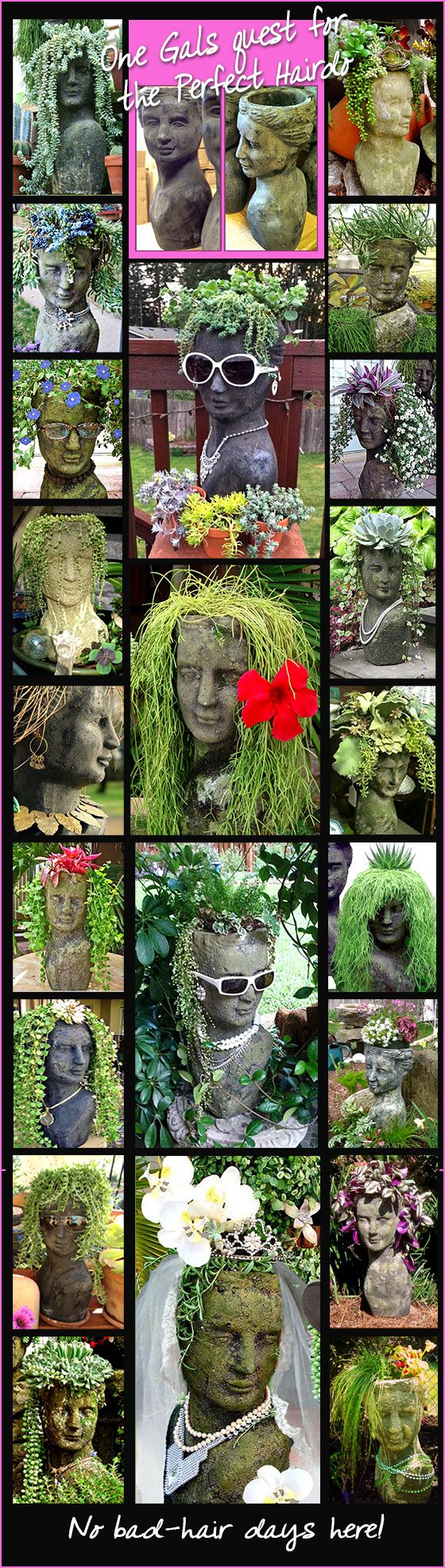 Believe it or not this is all the same female planter head - just different plants and 2 different finishes Moss and Stone - Shades do vary