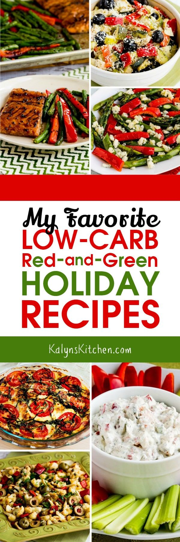 It's always harder to stick to a carb-conscious eating plan during the holidays, but having festive dishes that are red-and-green can help, so here are My Favorite Low-Carb Red-and-Green Recipes for Christmas! These recipes are also gluten-free and low-glycemic, and most of them are Keto as well! [found on KalynsKitchen.com] #LowCarbRecipes #LowCarbHolidayRecipes #LowCarbRedAndGreenRecipes #RedAndGreenRecipes #HolidayRecipes