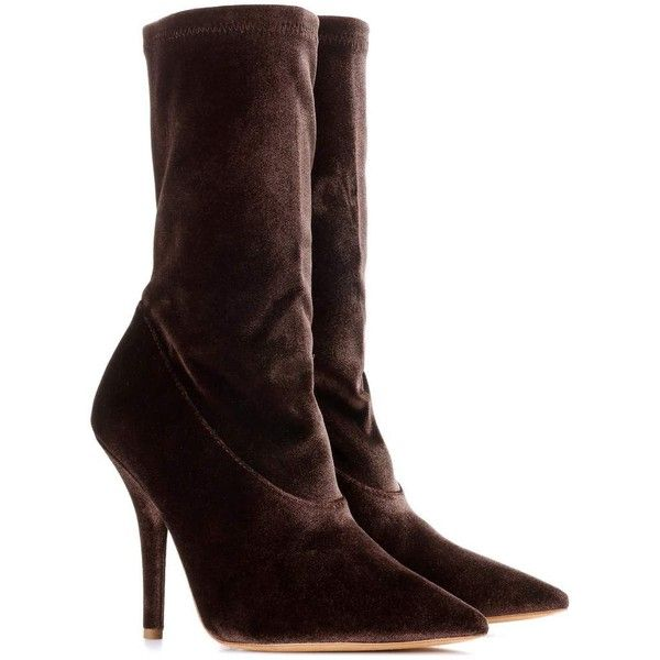 Yeezy Velvet Ankle Boots (SEASON 5) ($465) ❤ liked on Polyvore featuring shoes, boots, ankle booties and brown