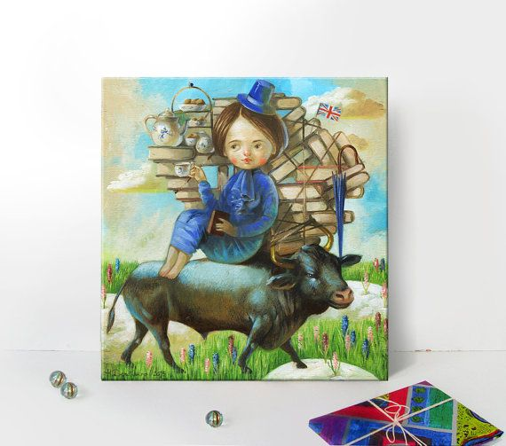 Taurus Astrology art painting original art print by ArtFable