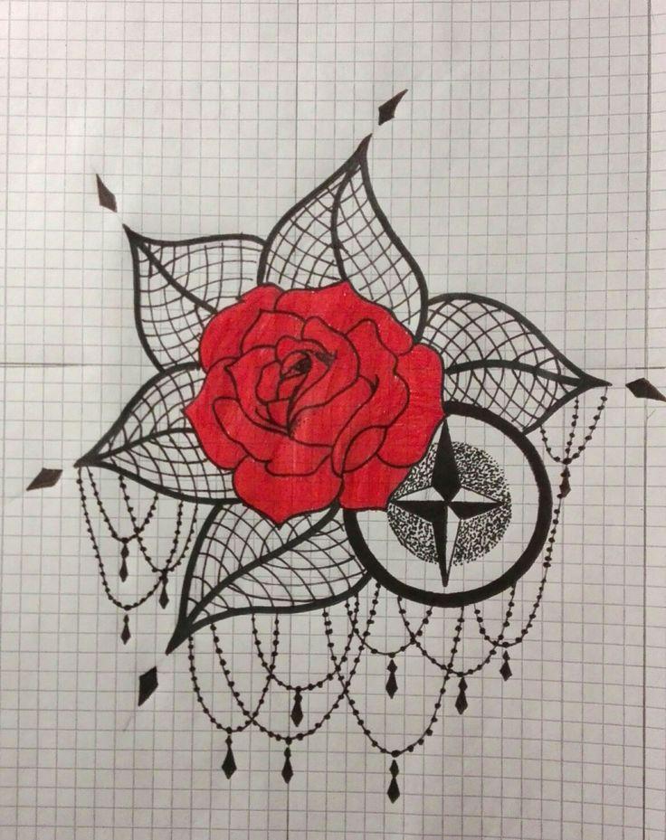 rose compass dotwork