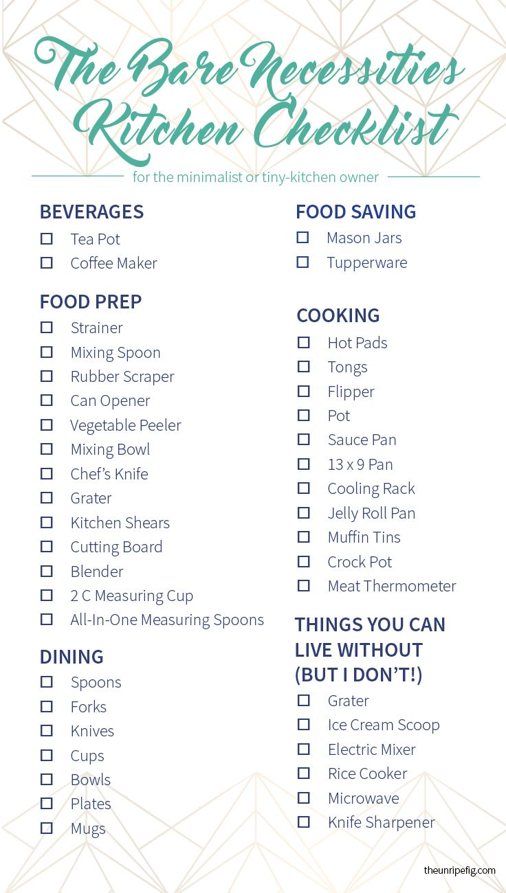 If you're moving into your first apartment, heading to college, or working on your wedding registry you definitely need this Bare Necessities Kitchen Checklist!