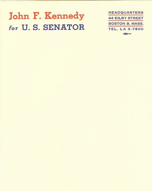 jfk for us senators letterhead