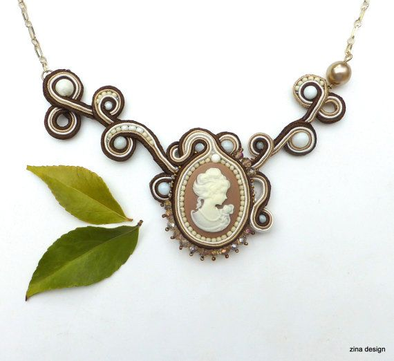 Cameo Necklace Soutache Necklace Brown Cameo by ZinaDesignJewelry
