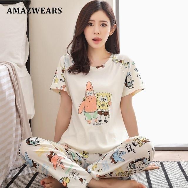 Womens Pyjamas Ladies Disney Pjs Short Sleeve Nightwear Sleepwear Set Cotton New