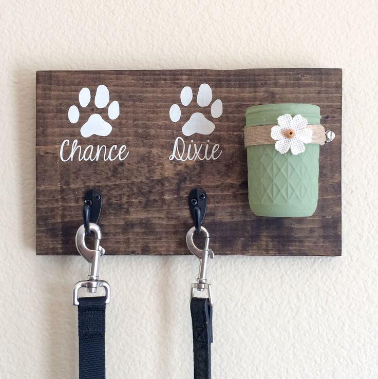 A personal favorite from my Etsy shop https://www.etsy.com/listing/249008594/dog-leash-holderdog-treat-holderdog