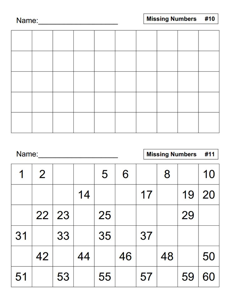 Missing Numbers.pdf 1st grade math, Math, Number sense