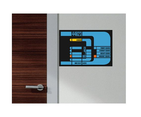 Scifi art inspired by Star Trek LCARS screens with room designation poster - for bedroom, playroom, nursery decor on Etsy, $55.00