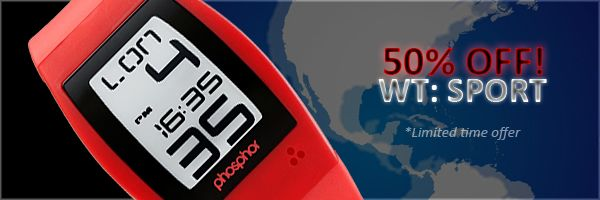 50% off On PHOSPHOR E INK - WORLD TIME: SPORT WATCH Only for a limited time!!