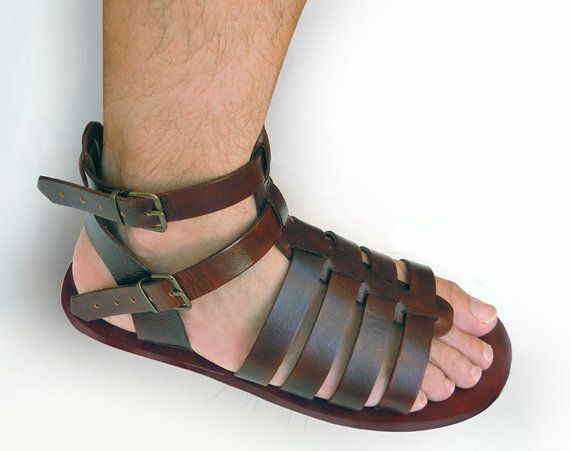 Leather Gladiator Sandals for Men handmade by LeatherD on Etsy