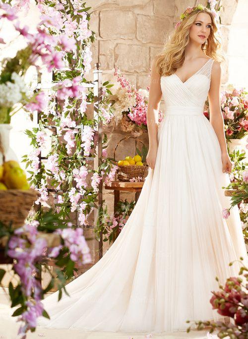Robes de mariée - $144.29 - Forme Princesse Col V Traîne moyenne Tulle Robe de mariée avec Plissé (0025060354)
