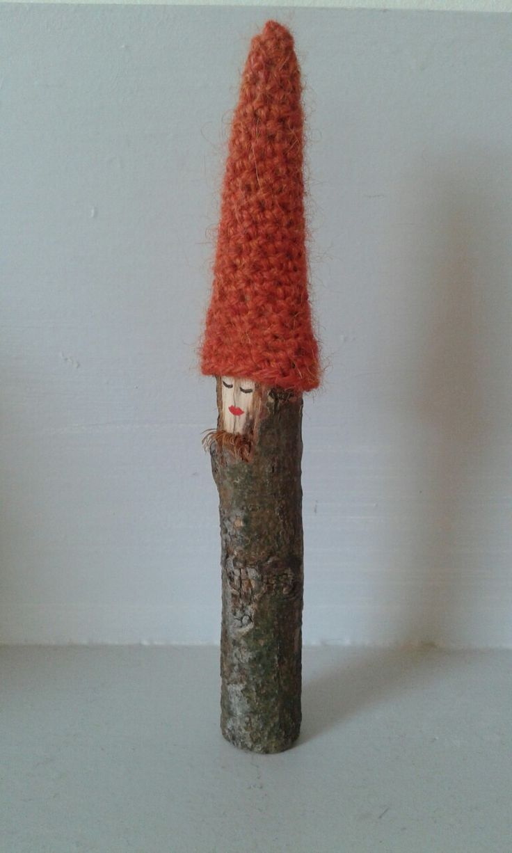 Gnomes stick with crochet cap and real beard ♡ Kabouter stokje met gehaakte muts en echte baard!  kikilief.blogspot.nl