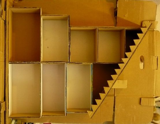 Dollhouse with shoe boxes