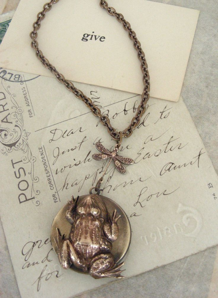 Vintage Jewelry Frog Necklace Frog Locket Frog Jewelry