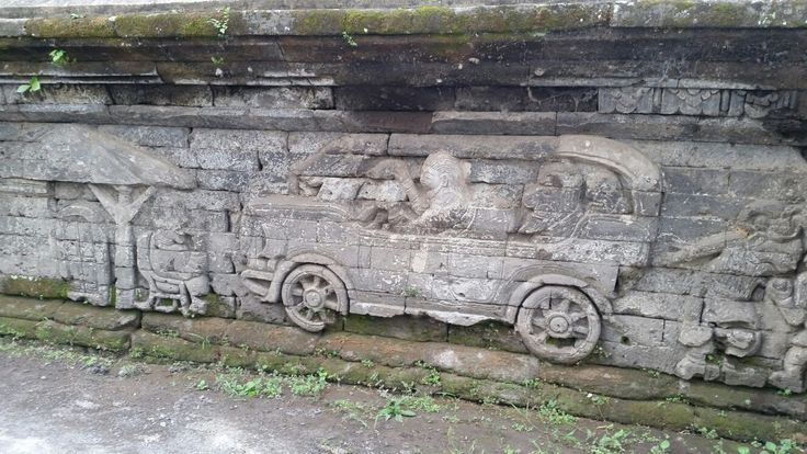 Jagaraga temple facade. This temple is famous for its depictions of motor cars, bicycle, planes and Dutch rule over Bali. Location not far from Singaraja