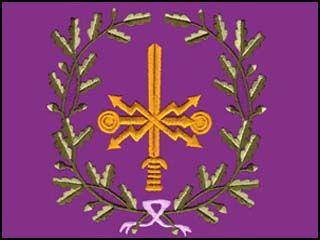 Viestirykmentin lipun on suunnitellut professori Carolus Lindberg vuonna 1938.