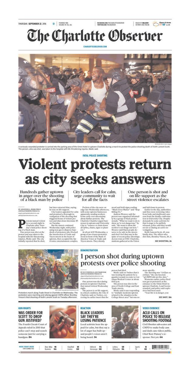Charlotte Newspaper Front Page Captures Unrest In City
