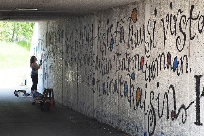 Lettering on huge wall ( tunnels ), street art, decoratin walls with letters. This was 20meters long project :)