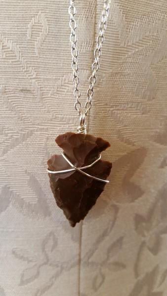 Necklace - Silver Chain Arrowhead Necklace By Stone And Bone