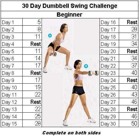 30 Day Dumbbell Swing Challenge: Beginner