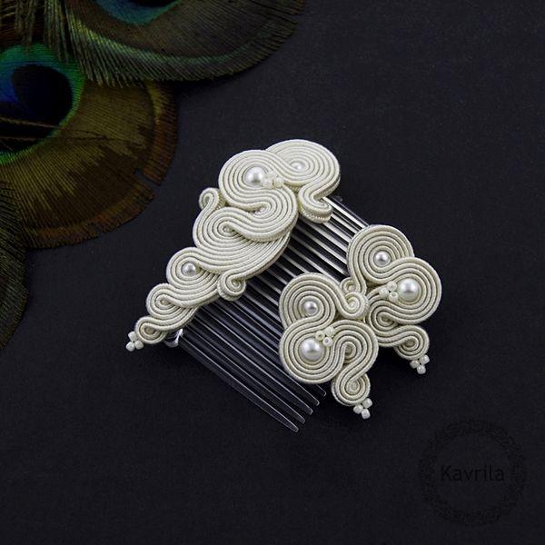 Midiro pearl soutache - komplet ślubny sutasz KAVRILA #sutasz #komplet #ślubny #rękodzieło #soutache #handmade #set #wedding #ivory #kavrila