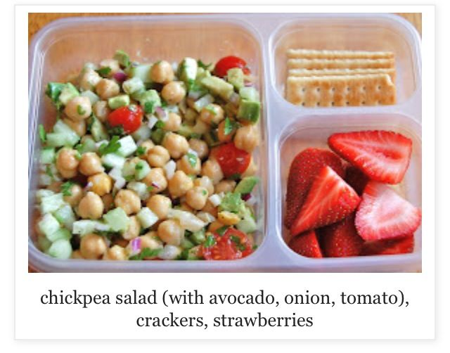 Chickpeas, Avacado, Onion, & Tomato Salad - Strawberries on th Side.