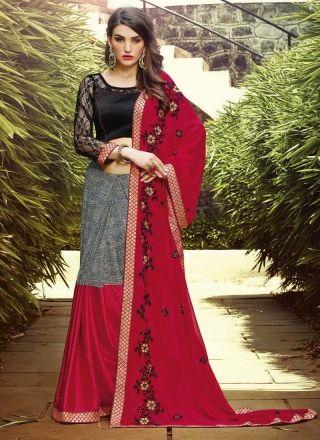 Red And Black Zari With Thread Georgette Print Lehenga Saree  http://www.angelnx.com/Sarees/Lehenga-Sarees