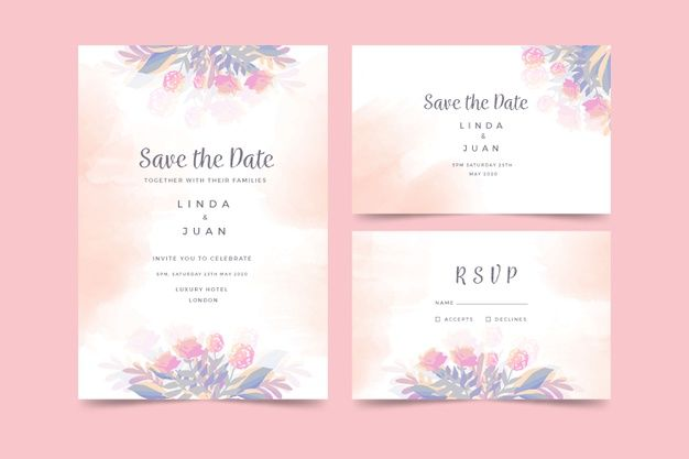 Watercolor Wedding Invitation Template F Free Vector Freepik