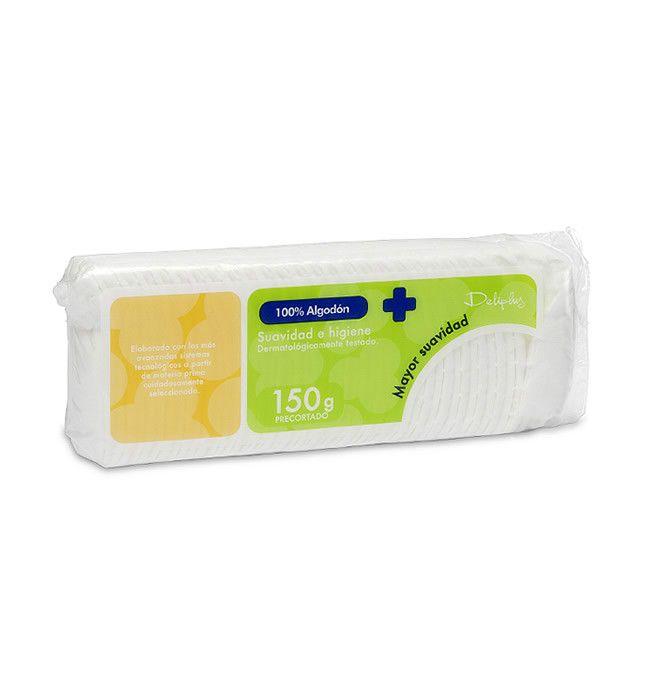 ALGODÓN HIDRÓFILO Suavidad e higiene. Dermatológicamente testado. Elaborado con los más avanzados sistemas tecnológicos a partir de materia prima cuidadosamente seleccionada.  Bolsa de 150g precortado.