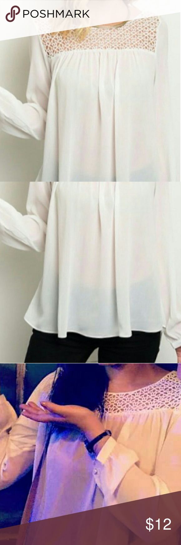 White Sheer Boho Blouse Purchased from White Plum, worn once. Pleated, sheer blouse w adorable latticework detailing at the top, both front and back. No defects. Measurements upon request. Thanks for looking! Oh My Julian Tops