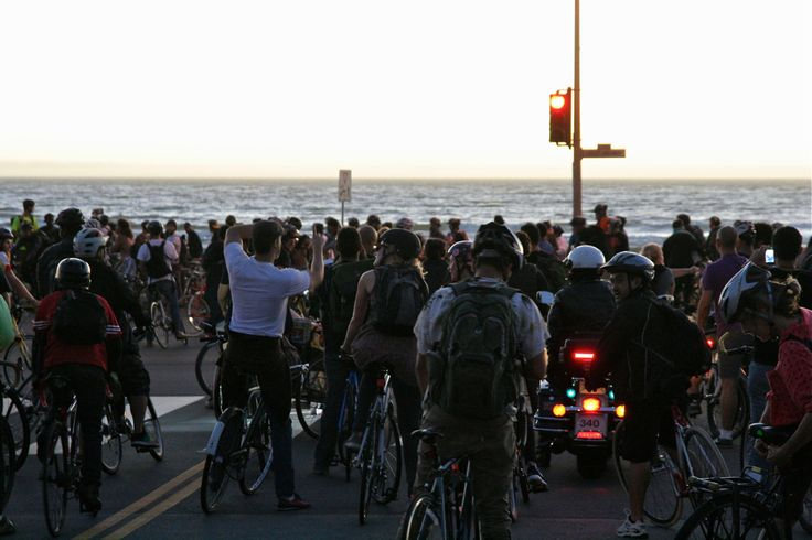 Finally there, at the beach of Pacific. San Francisco Critical Mass Aug 30 2013. © Miikka Järvinen