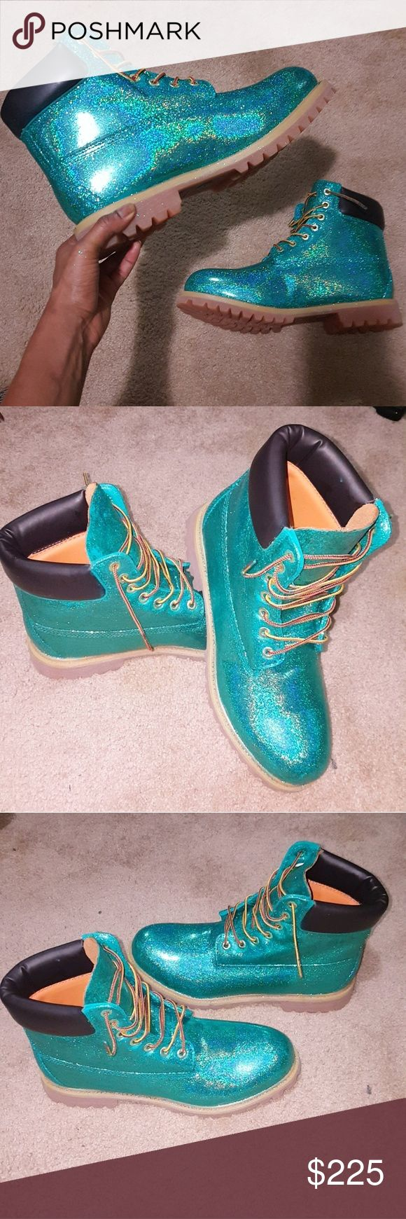 Customized Timberland Boots Size 12 Mens Torquoise Glittered Timberland Shoes Boots