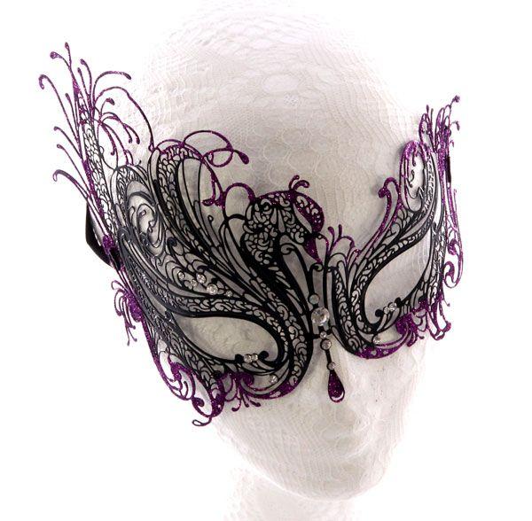Metal Filigree Masquerade Mask with Purple - Masquerade Masks HQ