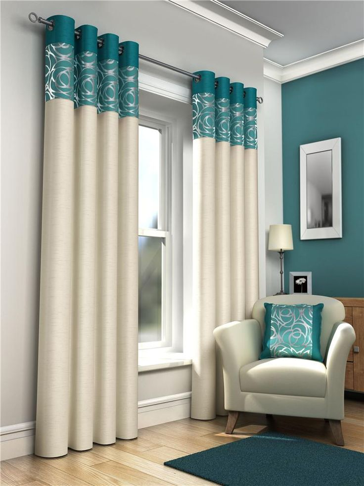 SKYE RING TOP LINED EYELET CURTAINS & CUSHION COVERS TEAL | eBay