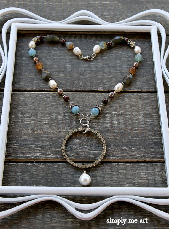 Vintage Rhinestone Baroque Pearl and Gemstone One by simplymeart, $73.00