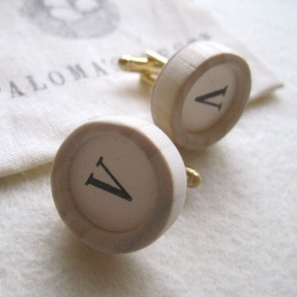 Custom cuff links in wood and ceramic by Paloma's Nest