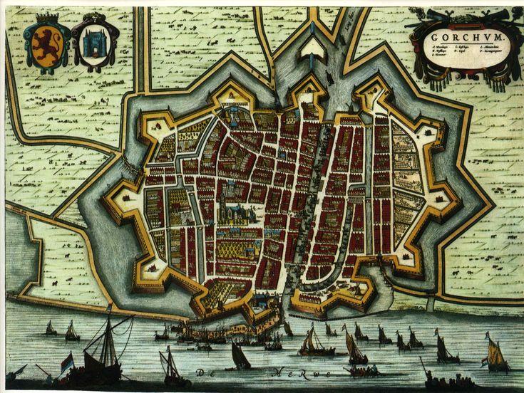 Blaeu Atlas: Gorinchem (Gorkum) ca 1662, Netherlands.