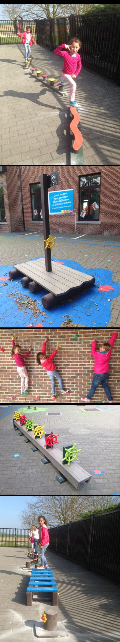 School De Groeiboog te Gingelom koos voor onderhoudsvrije Govaplast Play speeltuigen & klimgrepen tegen een muur. Ze streven naar een onderhoudsvrij schoolplein.