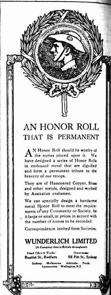 WWI Advertisement, 8 Nov 1916, The Sydney Morning Herald