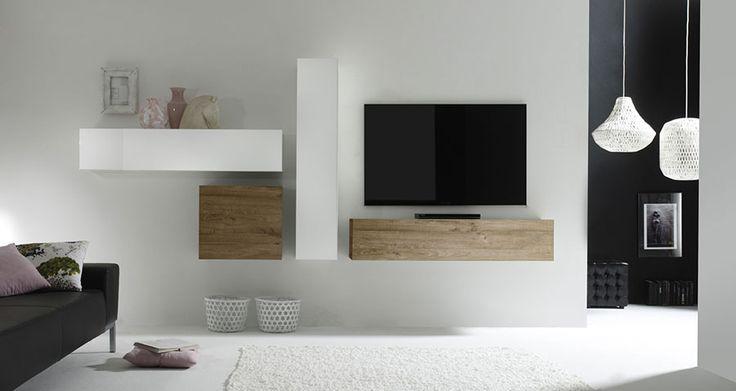 Ensemble TV mural contemporain MICHELE 2, laqué blanc brillant et miel, Ensemble meuble TV mural