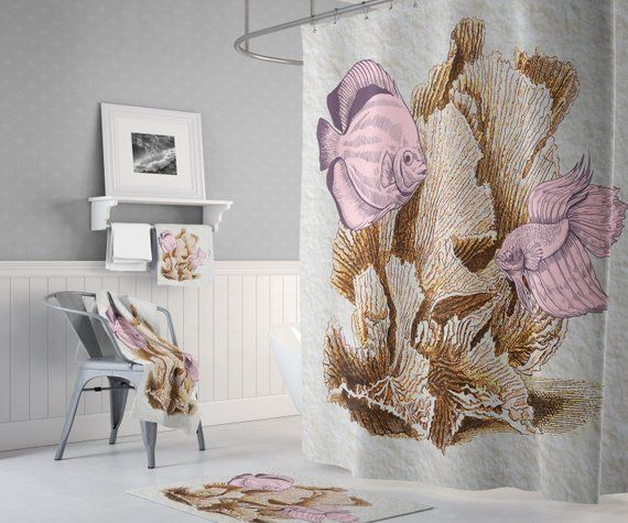 Living Coral Reef Shower Curtain With Optional Bathmat And Towels