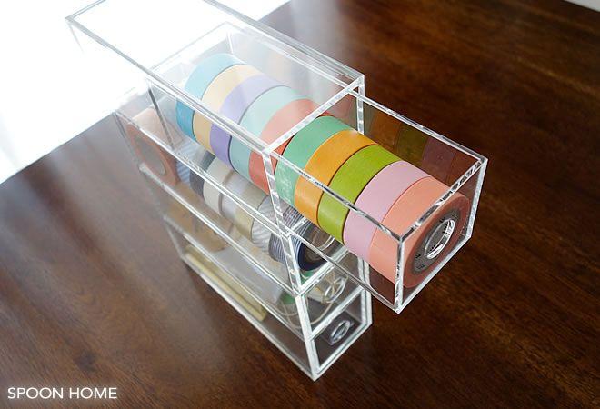 無印良品のアクリルメガネ・小物ケースのマスキングテープ収納
