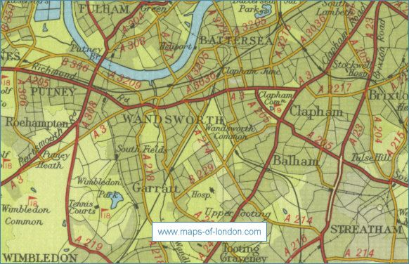 Wandsworth Map circa 1950