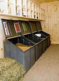 feed bins and shelves - so organized