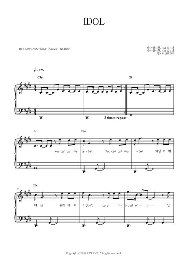 Hishine Bts Idol Easy Piano Sheet Music With Images