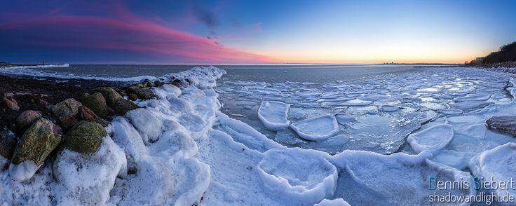 Baltic Sea on ice near Neustadt in Holstein_ Germany