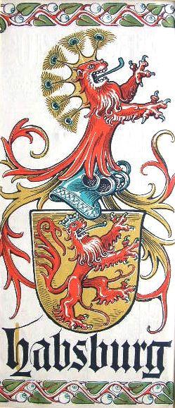 """Wappen des Geschlechts """"Habsburg"""" -- (Woodcut) Holzschnitt in 4 Farben von Otto Hupp; 29 x 13,5 cm; (aus dem """"Mchn. Kalender"""" von 1913)"""