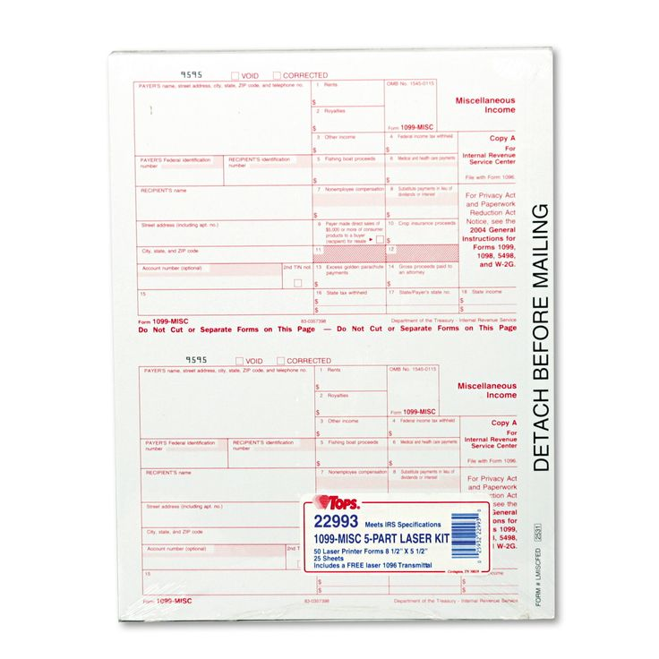 TOPS 1099 Tax Form 5-part Carbonless 50 Forms 2 per Page
