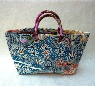 Mango Frooty: Japanese vintage kimono fabric tote bags