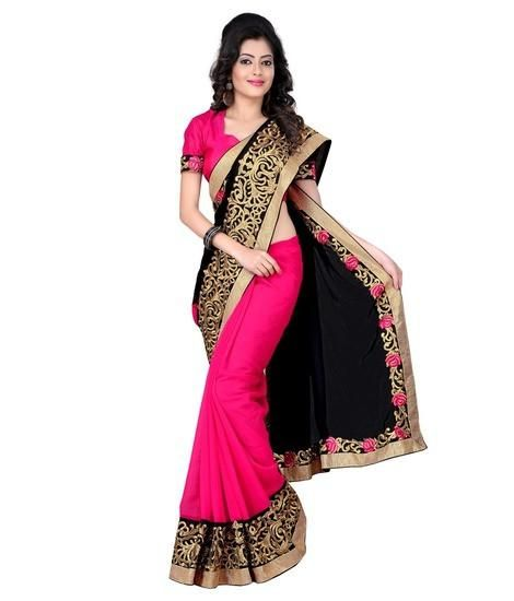 LadyIndia.com #Designer Sarees, Shop Online Party Wear Georgette Black Faux Saree For Women, Designer Sarees, Party Wear Saris, https://ladyindia.com/collections/ethnic-wear/products/shop-online-party-wear-georgette-black-faux-saree-for-women
